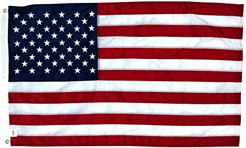 2.5x4 Ft American Flag | 100% Made in USA | US Flag in Heavy Duty Outdoor Nylon - UV Fade Resistant - Premium Embroidered Stars, Sewn Stripes, and Brass Grommets (2.5 x 4 Foot)