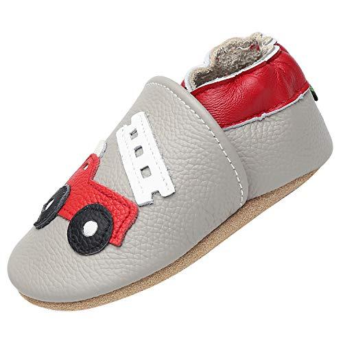 Yavero Chaussons en Bébé Garçon Souples Confortable Chaussure Bébé Fille Élastique Stable Durable Bambin Pantoufles pour Enfants, Voiture Grise 18-24 Mois