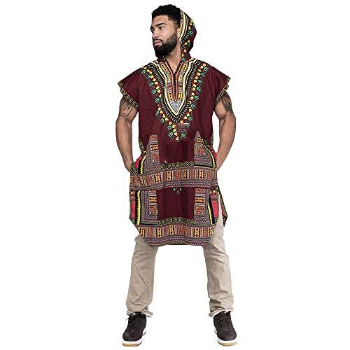 KPILP Herrenmode Neu Hipster Hiphop Afrikanischer Übergröße Dashiki Kapuzenpullover Zur Seite Fahren Langleine T-Shirt Pullover Bluse Oberteile(Weinrot, L