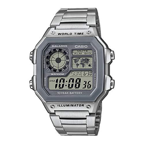 Casio Reloj Digital para de los Hombres de Cuarzo con Correa en Acero Inoxidable AE-1200WHD-7AVEF