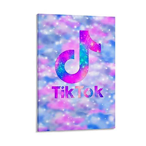 Ghychk Tik Tok Logo Made Live on Tik Tok Pintura al óleo moderna sobre lienzo arte de pared para sala de estar dormitorio listo para colgar 50 x 75 cm