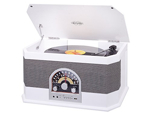 Trevi TT 1040 BT - Sistema estéreo de Tocadiscos Vintage de Madera...