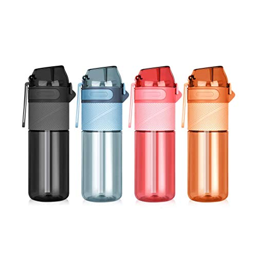 ZhiWei Water Bottle with Straw, 650Ml Tritan Sports BPA Free Water Bottles, Leakproof,Flip Top Lid, Pop Opens with 1-Click,Reusable Drinking Bottle for Adults And Kids,Yellow