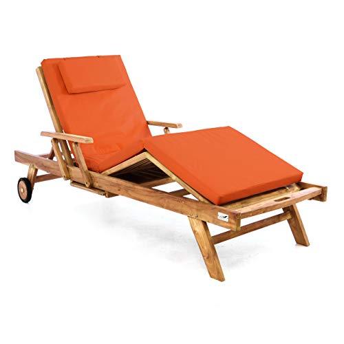 Divero Sonnenliege Holzliege Gartenliege Teak-Holz behandelt mehrfach verstellbar inkl. Räder Tablett + Liegen-Auflage 4-teilig wasserabweisend orange