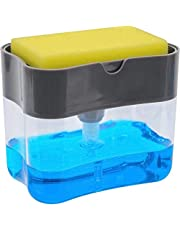 2 in 1 Sponge Rack Shelf Soap Detergent Dispenser Pump, Large Capacity with Sponge, 1 Hand Operation