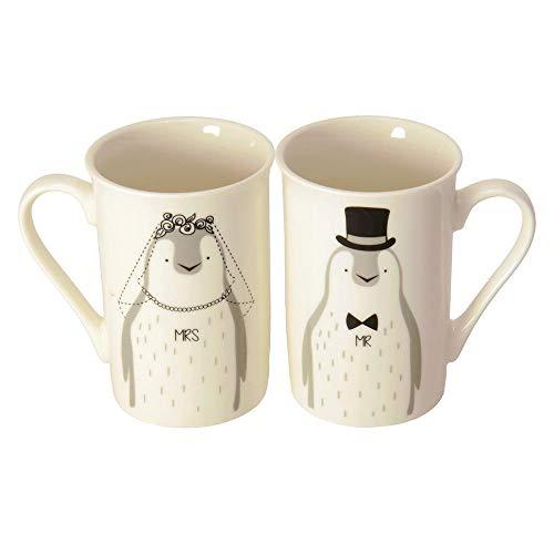 Pinguin Braut und Bräutigam Kaffeebecher im 2er Set - Mr & Mrs Pinguin Kaffeetasse
