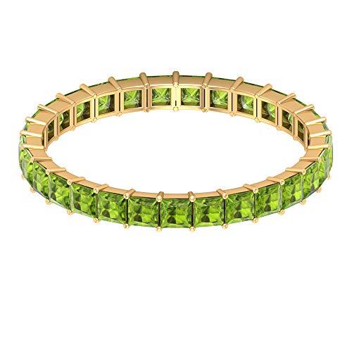 Delicada banda de eternidad completa, 1 ct 2 mm, anillo de peridoto corte princesa, anillo de boda apilable, anillo de agosto, anillo de aniversario, anillo delicado, 14K Oro amarillo, Size:EU 66