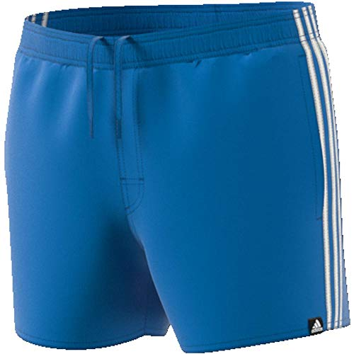 adidas Herren 3-Streifen Badeshorts, Bright Blue/Off White, L
