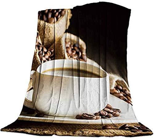 Mantas suaves y acogedoras de microfibra de lujo para sofá de sala de estar, oficina, un vaso de café y granos de café en bolsa Gunny, 50 x 80 pulgadas