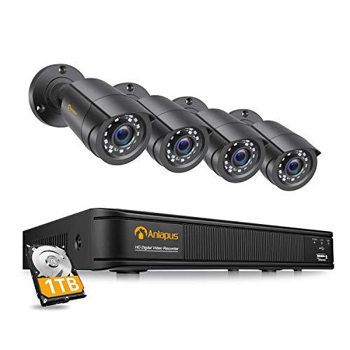 Anlapus Kit de Cámaras de Vigilancia Exterior 8CH 1080P H.265+ Grabador DVR con (4) Cámara de Seguridad, Alarma de Movimiento, Visión Nocturna, 1TB Disco Duro