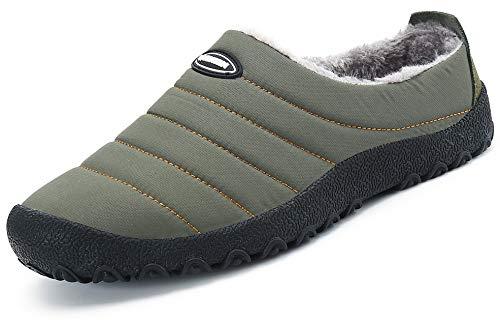 Zapatillas de Estar por Casa Mujer Hombre, Invierno Zapatos de Casa con Forro de Piel - Cálidas y Cómodas - con Suela Antideslizante para Exterior e Interior,Verde 36