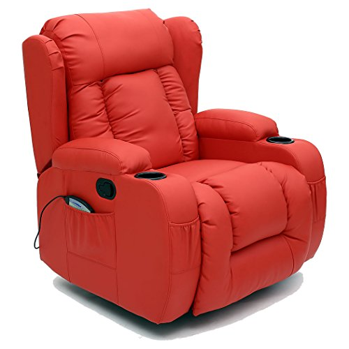 More4Homes CAESAR 10 IN 1 WINGED RECLINER CHAIR ROCKING MASSAGE SWIVEL HEATED GAMING BONDED LEATHER ARMCHAIR (Red)