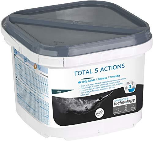 Gre - Total 5 Action in pastiglie da 250 gr. Prodotto Senza Acido BORICO. Multi Azione, Cloro, Stabilizzante, Antialga, Anticalcare, Flocculante. Confezione da 4Kg. SPEDIZIONE IMMEDIATA
