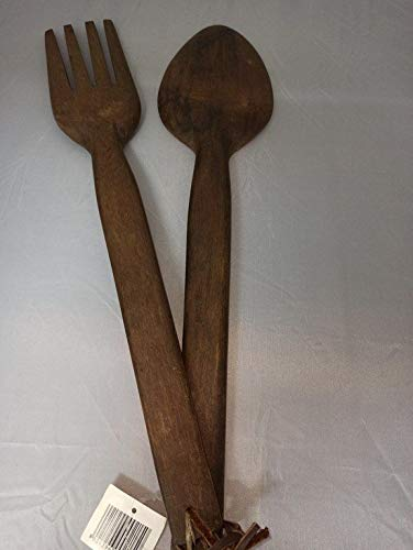 Generic Pair of Giant Wooden Hand Carved Fork and Spoon