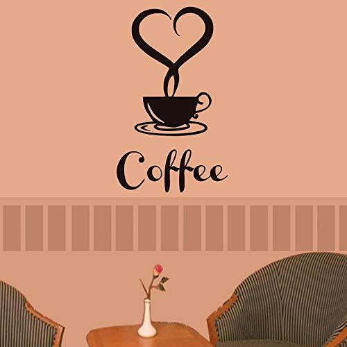 Koffie Beker met Hart Vinyl Muursticker voor Restaurant Keuken Verwijderbaar Behang voor Eetkamer Wall Art Decals Home Decor