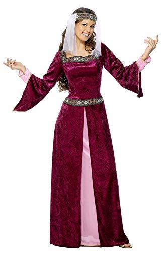 Smiffys Costume soubrette Marion, bordeaux, avec robe et coiffe - 1X