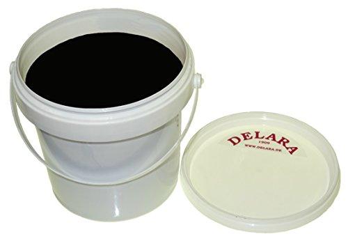 DELARA Hochwertiges schwarzes Lederfett, 500 ml, mit kleinem, 4-teiligem Bürstenset und einem Poliertuch - Made in Germany