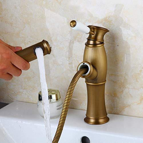 BFLOF grifo de cocina Grifo de baño Extractor de lujo Mezclador de lavabo de latón antiguo Grifos de lavabo Mezcladores Grifo de tocador