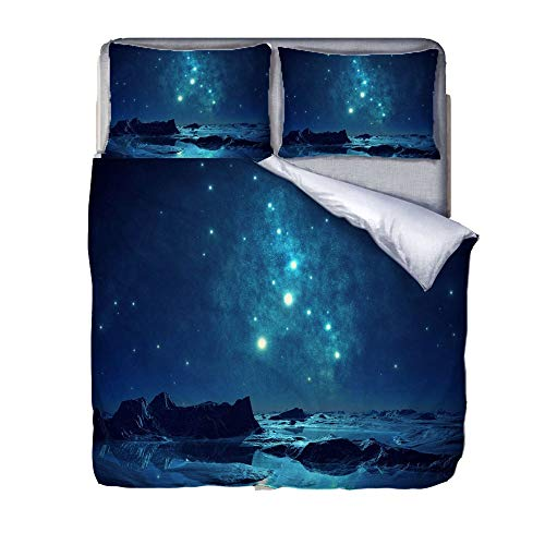 ZXXFR Duvet Cover Set Printed 3d dazzling blue starry sky sea,Bedding Quilt Cover Soft Breathable for Girls Boys 3 Pieces (1 Duvet Cover + 2 Pillow cases)-200x200CM