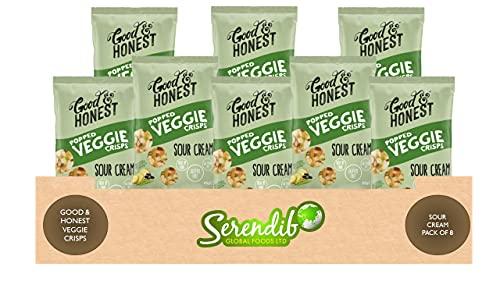 Good & Honest crujiente crujiente crujiente crujiente crema agria sabor | vegano | fuente de proteína y fibra | sin gluten | bajo en grasa sat | 85 g cada uno | paquete de 8