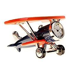 Red Co. Miniature Retro Aircraft Plane, Novelty Desk Table Desktop Collectors Clock - 3.5