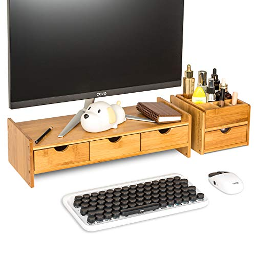 YUSING Bamboo Monitor Stand, Ergonomic Computer Riser with Storage Organizer Drawers, Adjustable Screen Stand for Laptop Computer/TV/PC (Nature Wood)