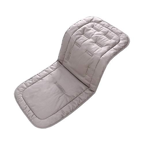 Baby Sitzauflage für Kinderwagen, 32x80 cm Baby Sitzeinlage aus 100% Baumwolle Weiche und Reversible Autositz Kinderwagenauflage für Babyschale Buggy(grau)