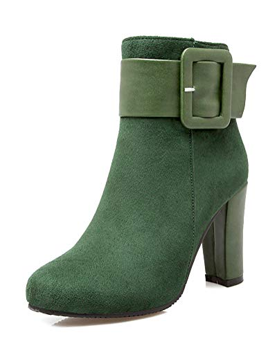 Minetom Damen Stiefel Winter Herbst Chelsea Boots Blockabsatz Ankle Boots Elegant Casual Mode High Heels Stiefeletten Grün 37 EU