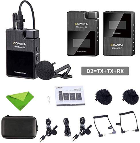 comica BoomX-D Wireless Lavalier Microphone System,2.4G Digital 1-Trigger-2 Wireless Microphone OLED Display Transmitter & Receiver for DSLR Camera with Lapel Clip Mics for Interview Podcast Vlogging