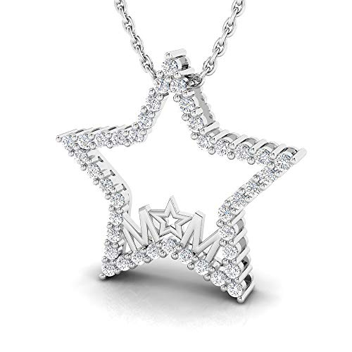 IGI Certified 1/4 Carat Natural Diamond Sterling Silver Mom Star Pendant for Women with Chain (J-K Color, I2-I3 Clarity) (0.25 Ct Diamond Star)