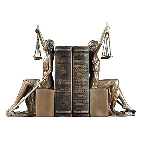 Book Ends Greek Goddess Sculpture, Creative bookends Resin Crafts Bedroom Study Decoration Desk Unique bookends Greek Statue Goddess Justice Statue Gift for Lawyer Office Decoration bookends