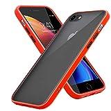 Cadorabo Funda Compatible con Apple iPhone 6/6S 7/7S 8/8S en Mate Rojo - Botones Negros - Funda para teléfono móvil con Interior de Silicona TPU y Parte Trasera de plástico Mate