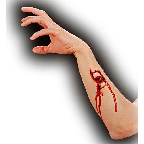 Amakando Fracture avec Sang Application Maquillage Latex cassure Trou blessure théâtre Zombie cinéma plaie Professionnelle Horreur Halloween Veille de la Toussaint