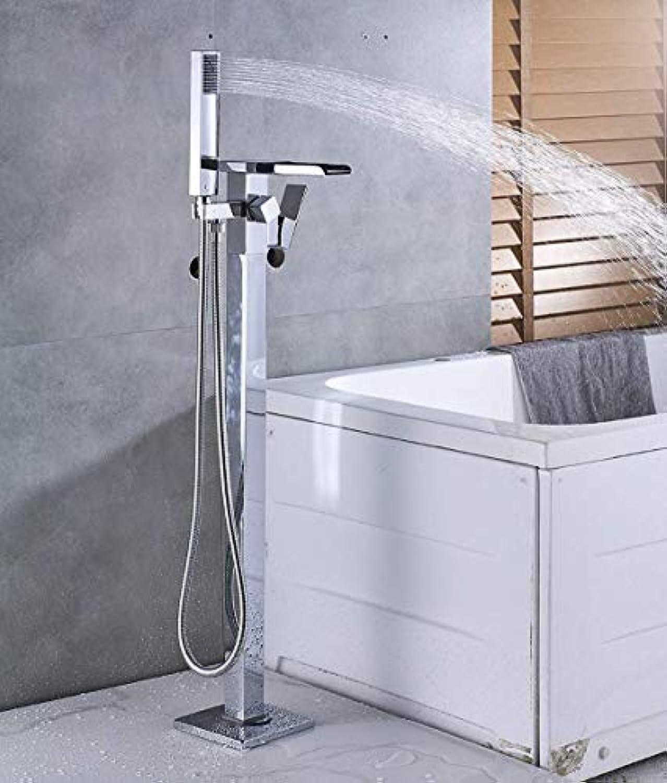 L.tsa LED-Auslufe Bodenmontage Badezimmer Bodenmontage Badewanne Wasserhahn Einhebelmischer mit Hand verchromt