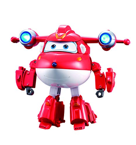 Super Wings - Deluxe Transforming Supercharged Jett | 6'' Scale | Fun Airplane Toy for 3 4 5 Year Old Boys and Girls | Preschool Toy Birthday Gift for Pretend Play | Light and Sound Effects