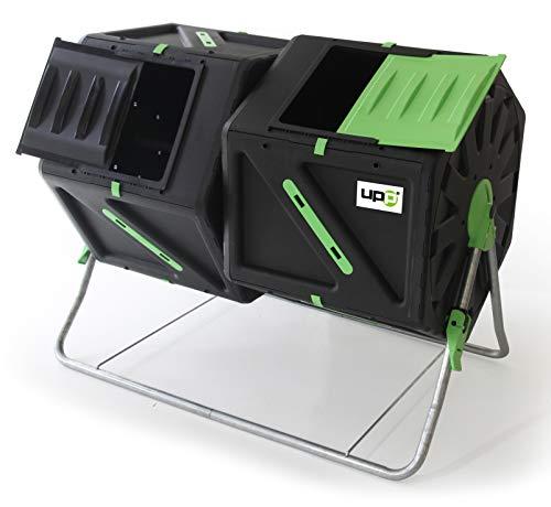 UPP Composteur de Jardin I 2 Chambres de 105 litres I Tonneau de Compost pour Balcon ou Jardin I avec Ventilation Interne I 95 x 60 x 82 cm