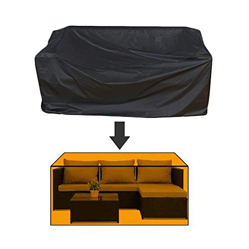 ASDFGHT Rattan Furniture Covers Dust-proof Outdoor Windproof Anti-UV Lounge Porch Protective Tarpaulin, Custom Size (Color : Black, Size : 180×120×70cm)