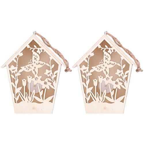 Mxzzand Außendekoration Holz warmes helles Holz Vogelhaus Vogel Nistkasten Innendekoration für Außendekoration im Freien