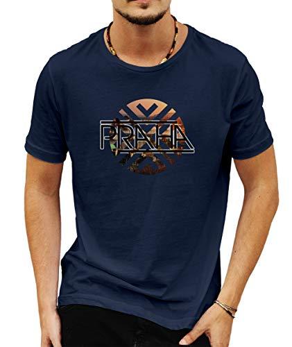 Wild Soul Tees - Camiseta para hombre, diseño de la ciudad antigua Praga Capital de la República Checa Azul azul M