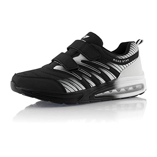 Fusskleidung® Damen Herren Laufschuhe Dämpfung Sportschuhe leichte Turnschuhe Schwarz Weiß Weiß EU 41