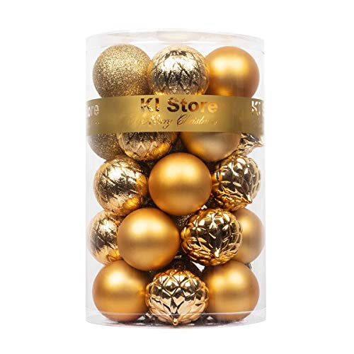 KI Store Christmas Balls Gold Shatterproof Christmas Tree Ball Ornaments Decorations for Xmas Trees Wedding Party Home Decor 2.36-Inch Hooks Included