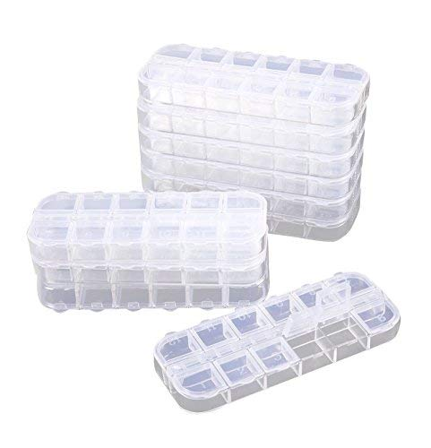 12 Grid Clear Plastic Jewelry Box Organizer, Storage Container (10-Pack)