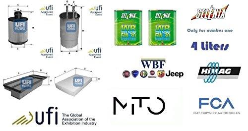 Kit filtri tagliando UFI Alfa Mito 1.3 JTDm 16v Start Stop 62 Kw + 4 Litri Oil Selenia 5W30