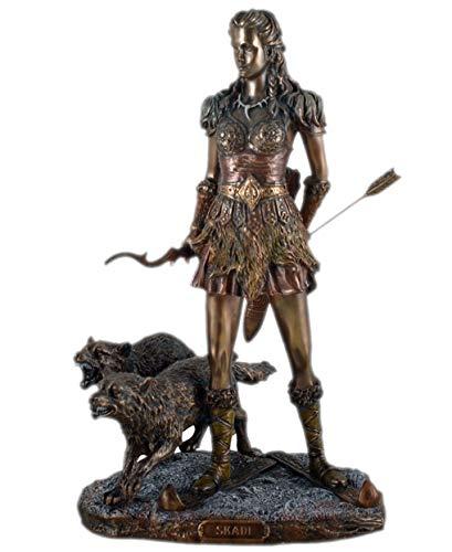 Figur Skadi nordische Göttin der Jagd Figur bronziert Skulptur