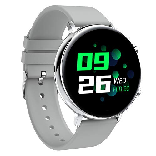 HQPCAHL Smartwatch, Fitness Armband Tracker Voller Touch Screen Uhr Pulsmesser Wasserdicht IP68 Armbanduhr Smart Watch Mit Schrittzähler Stoppuhr Bluetooth Sportuhr Für Ios Android Damen Herren,Weiß