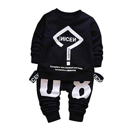 BeautyTop Baby Kleidung Set, 2Pcs Kleinkind Baby Kind Junge Mädchen Outfits Brief Drucken T-Shirt Tops + Hosen Kleidung Set (100/3T, Schwarz)