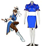 GGOODD Chun-Li Woman Blue Cheongsam Fight Disfraz Anime Street Fighter (SF) Disfraz De Cosplay Vestido De Fiesta De Halloween,XXXL
