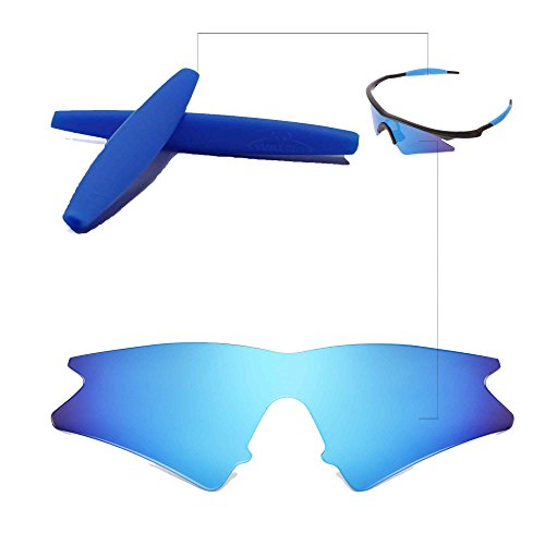 Walleva Wechselgläser Und Earsocks für Oakley M Frame Sweep Sonnenbrille - Mehrfache Optionen (Blaue Linsen + Bl Gummi)