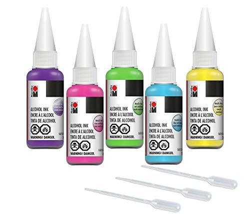 MARABU Metallic Alcohol Ink Set, 5 colors + 3 mini pipettes