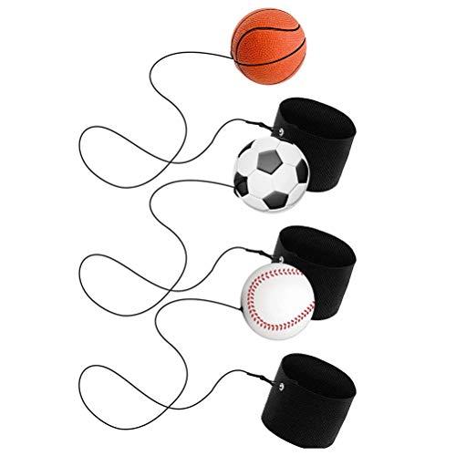 Akemaio 3 pcs Deportes hinchables Venda de muñeca Bolas Baloncesto Béisbol Fútbol Juguetes Bolas de Correas para los Regalos de Actividad del Deporte Juguete para niños